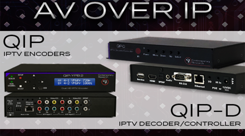 AV over IP Solutions banner with QIP encoders and QIP decoders