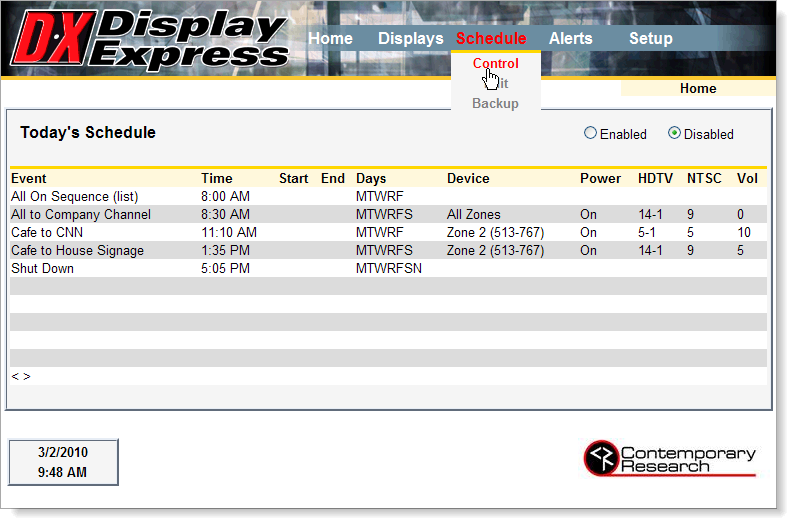 Display Express Homepage Screen Shot