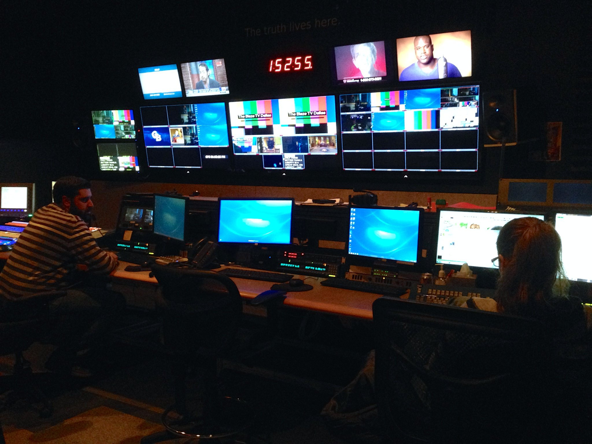 Video Engineers monitoring broadcast at CRM studios (background)