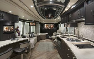 Interior of Luxury RV with living in kitchen space