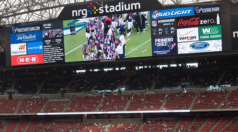 NRG Stadium end zone and large video screen