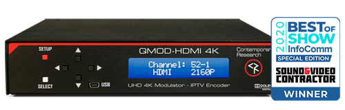 QMOD-HDMI 4K Sound and Video Contractor Best of Show 2020 Award Banner