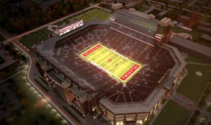 The Gaylord Family Oklahoma Memorial Stadium overhead photo