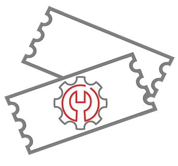 Ticket Icon with wrench and cog