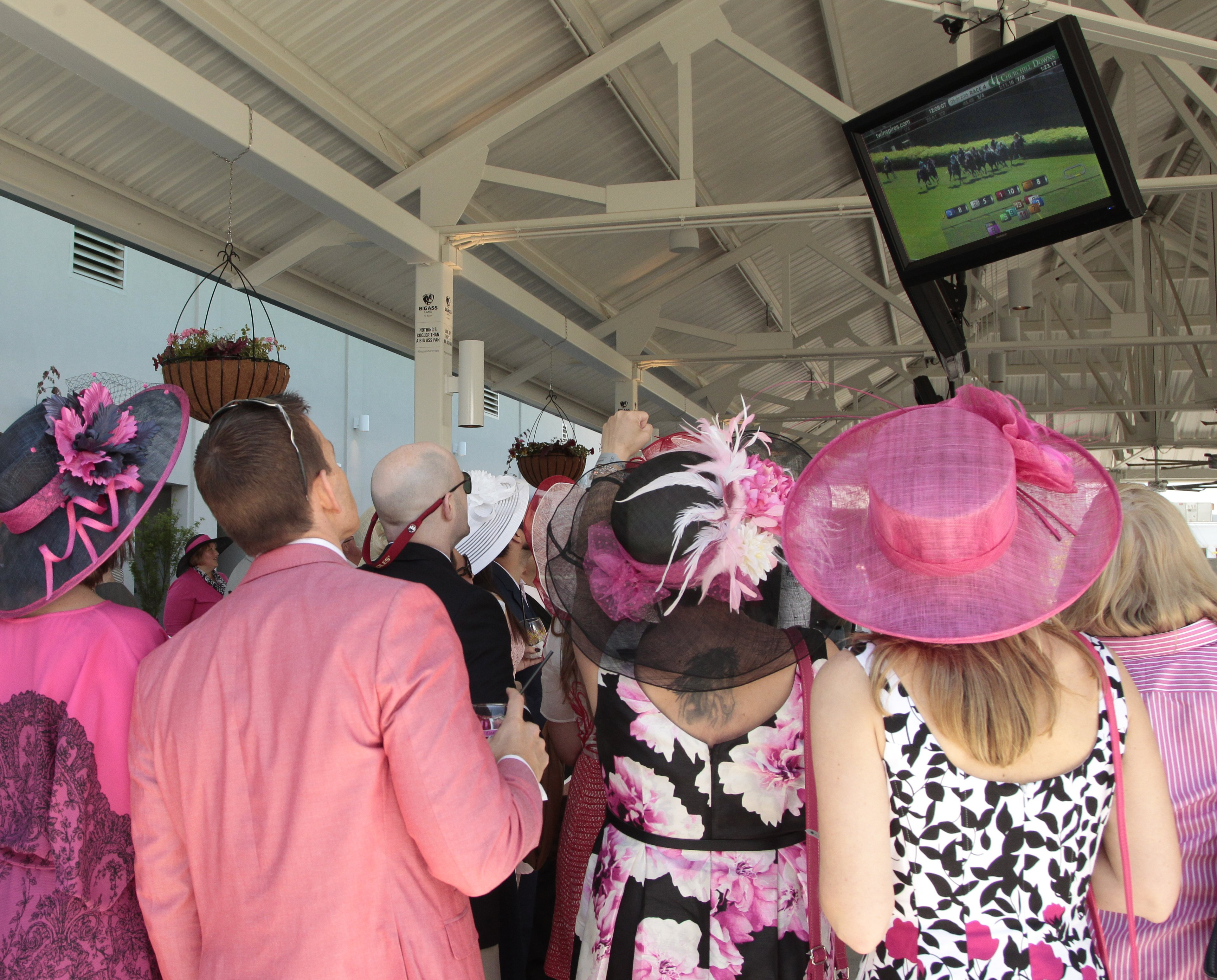 Churchill Downs Grand Stands with fans viewing race