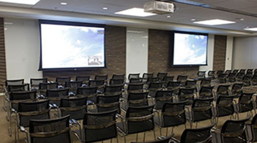 Large meeting room with video projectors
