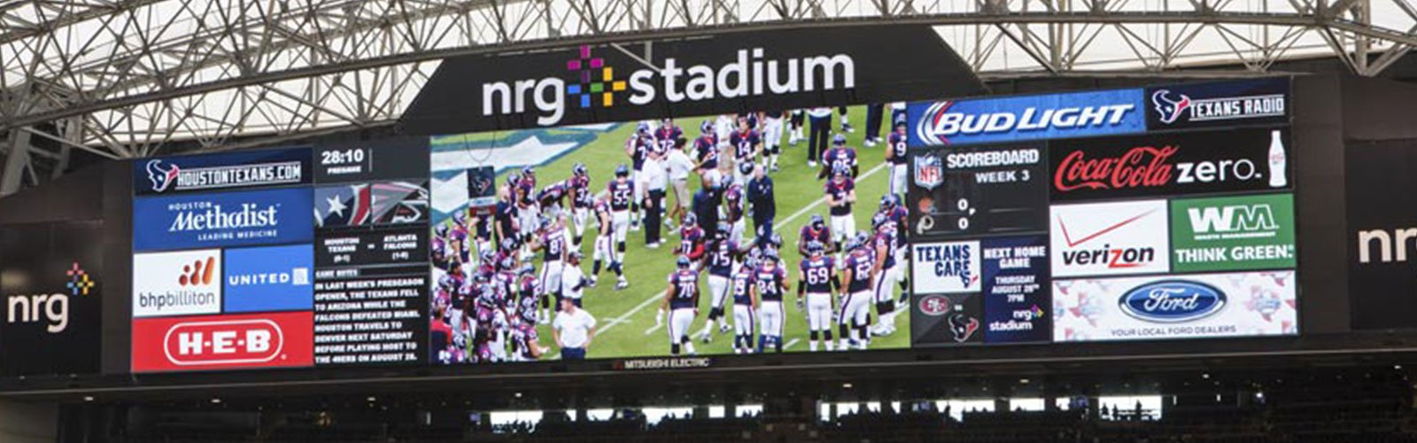 NRG Stadium scoreboard and video display (background)