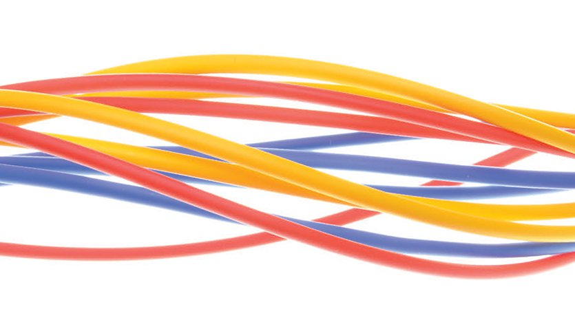 Red, yellow, and blue wires (background)